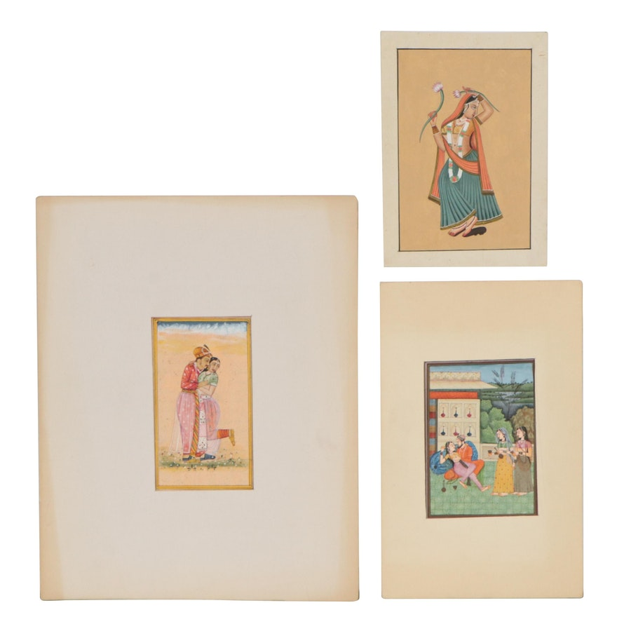 Indian Mughal Gouache Paintings and Manuscript Leafs