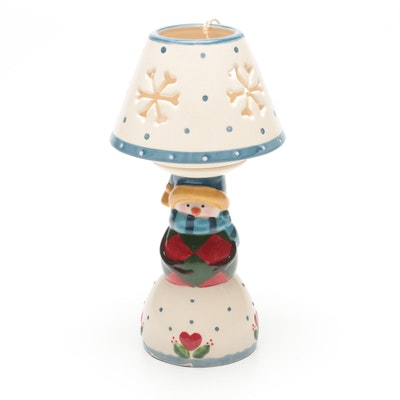 Jim Shore Heartwood Creek Snowman Ceramic Tea Light Candle Holder