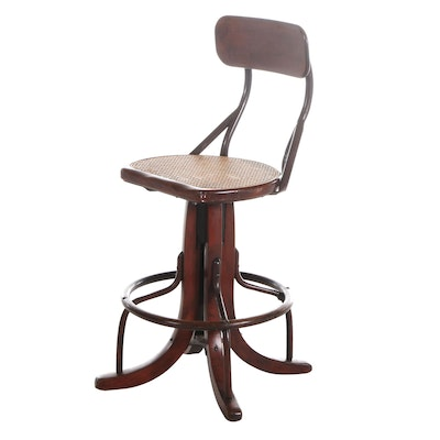 Industrial Bentwood Swivel Stool with Foot Rail, Early to Mid 20th Century