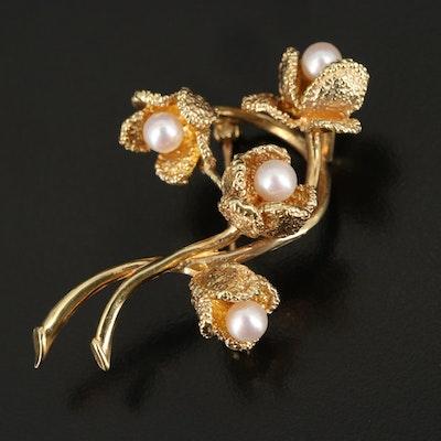 David Trabich 14K Pearl Flower Brooch
