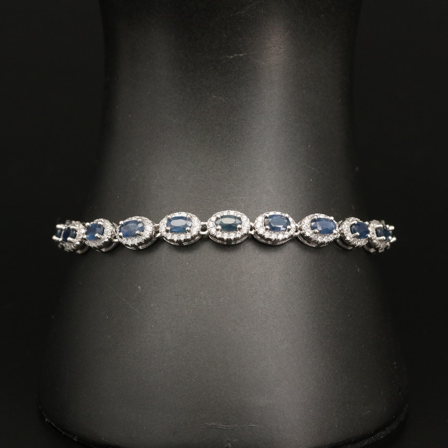 Sterling Silver Sapphire and Cubic Zirconia Bracelet