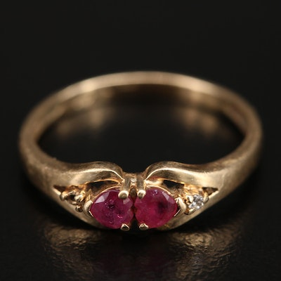 14K Ruby and Diamond Double Heart Ring