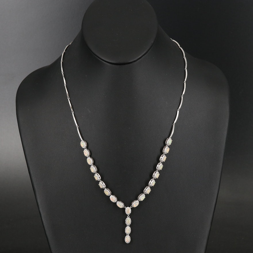 Sterling Opal and Cubic Zirconia Y Necklace