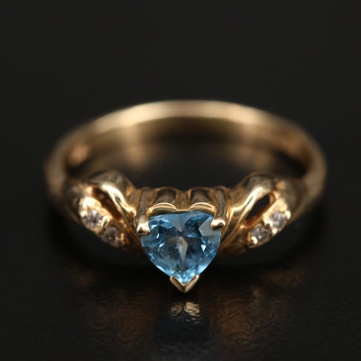 14K Swiss Blue Topaz and Diamond Heart Ring