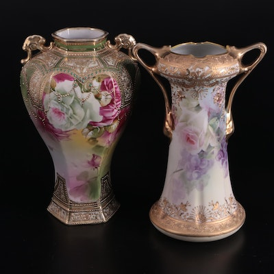 Nippon Hand-Painted Moriage Accented Porcelain Vases, Late 19th-Early 20th C.