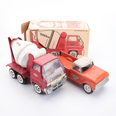 Nylint Pressed Steel U-Haul Ford Pickup and Tonka Cement Mixer Truck, 1960s