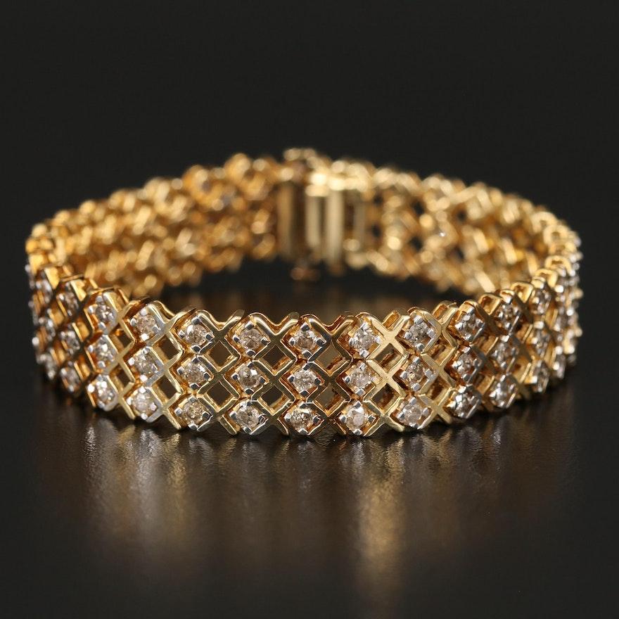 14K 4.56 CTW Diamond Multi-Row Bracelet