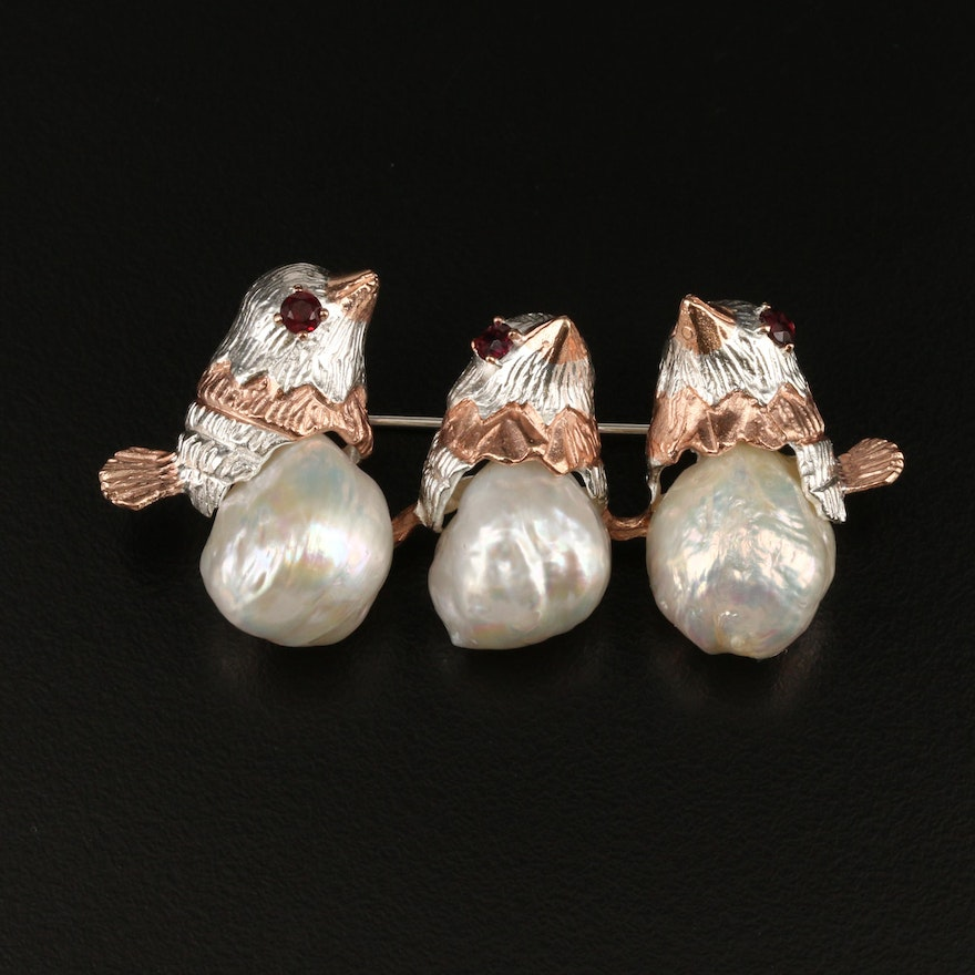 Sterling Pearl and Garnet Perched Bird Brooch