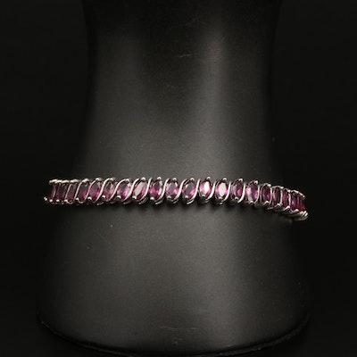Sterling Silver Garnet 'S' Link Bracelet