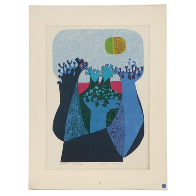 """Abstract Lithograph """"L'Orage,"""" 1974"""