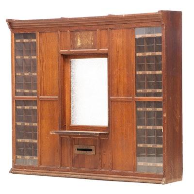 U.S. Post Office Oak Countertop Window, Early 20th Century