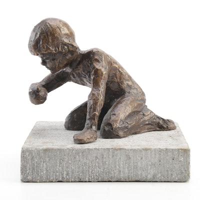 """Bronze Sculpture After Victor Salmones """"Kneeling Youth"""""""