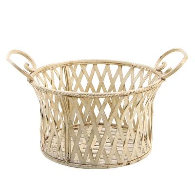 Painted Handled Metal Basket, Late 20th Century
