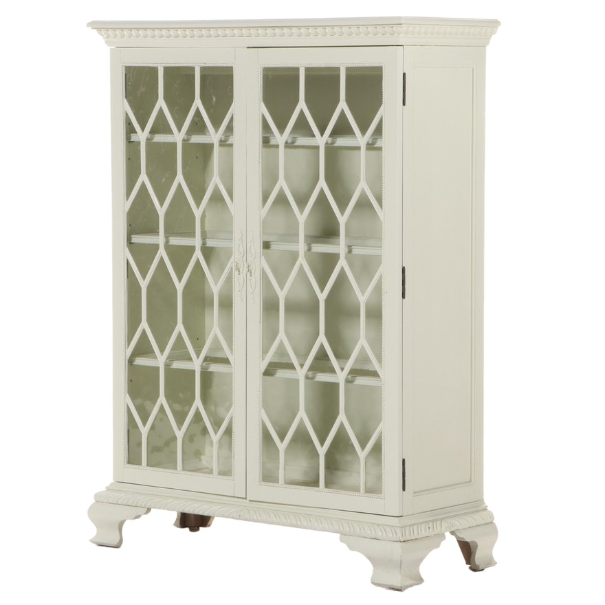 Chippendale Style Cream-Painted Display Cabinet