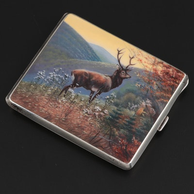 Louis Kuppenheim German Enamel 900 Silver Elk Scene Cigarette Case, Early 20th C
