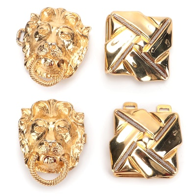 Mimi di N Lion Head Belt with Ring Buckle and Other Two-Tone Buckle