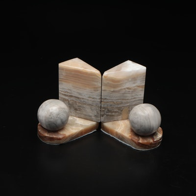 Hand Carved Onyx Stone Bookends