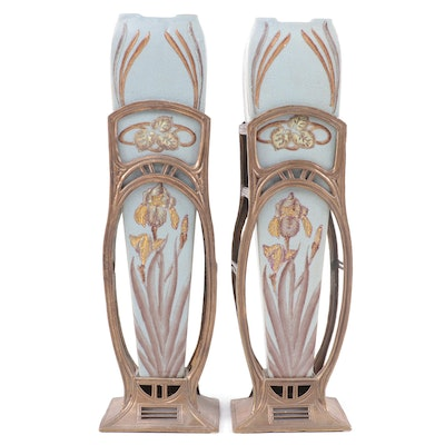 Art Nouveau Style Ceramic and Brass Vases