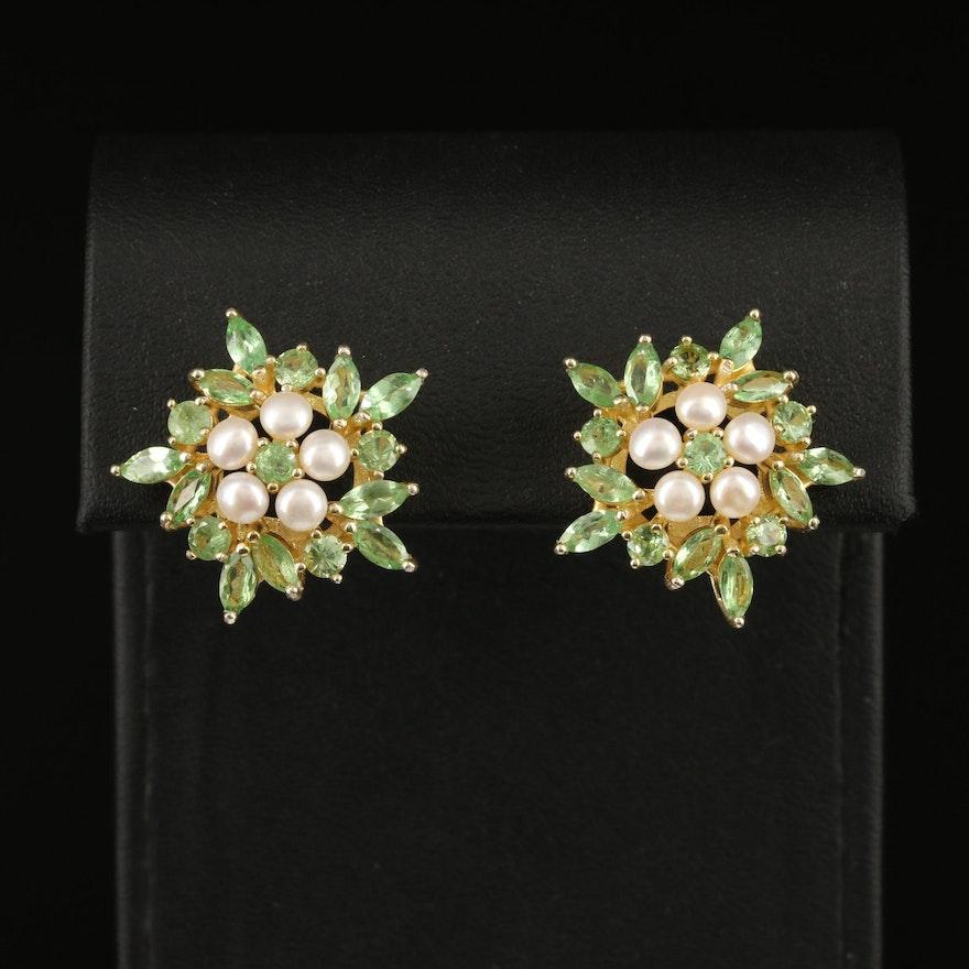 Sterling Pearl and Tsavorite Garnet Earrings