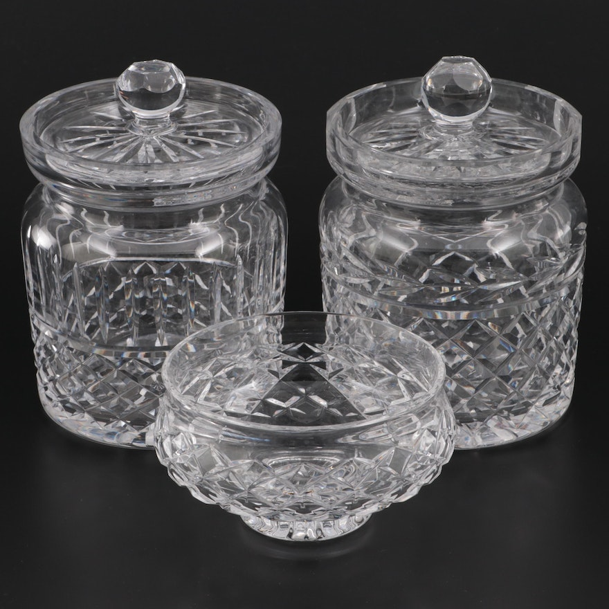 """Waterford Crystal """"Glandore"""" and """"Lismore"""" Biscuit Jars and Footed Bowl"""