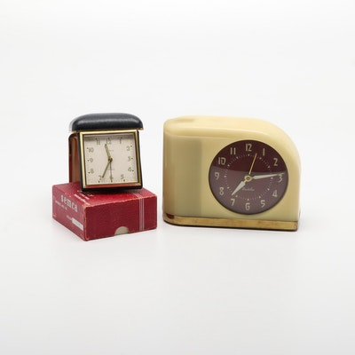 Semca Model No. 76 and Westclox Alarm Clocks, Mid-20th Century
