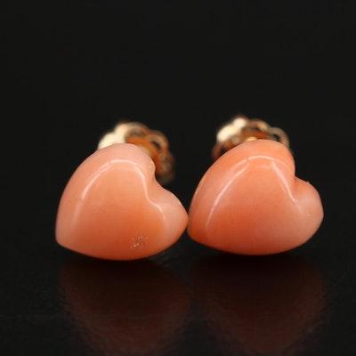 14K Carved Coral Heart Stud Earrings