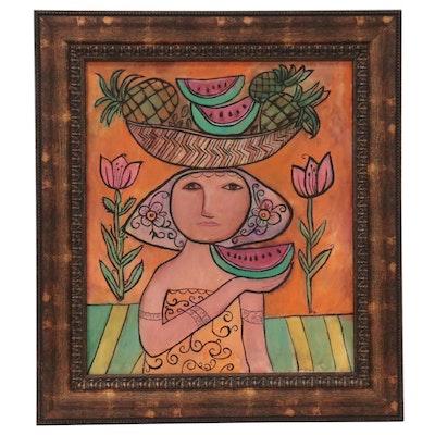Folk Art Style Acrylic Painting, Late 20th Century