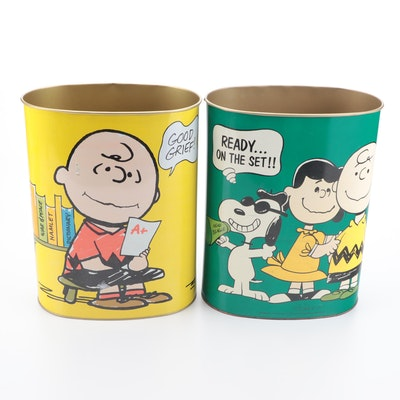 """Cheinco Peanuts """"Good Grief"""" and """"Ready On The Set!!"""" Metal Waste Cans, 1969"""
