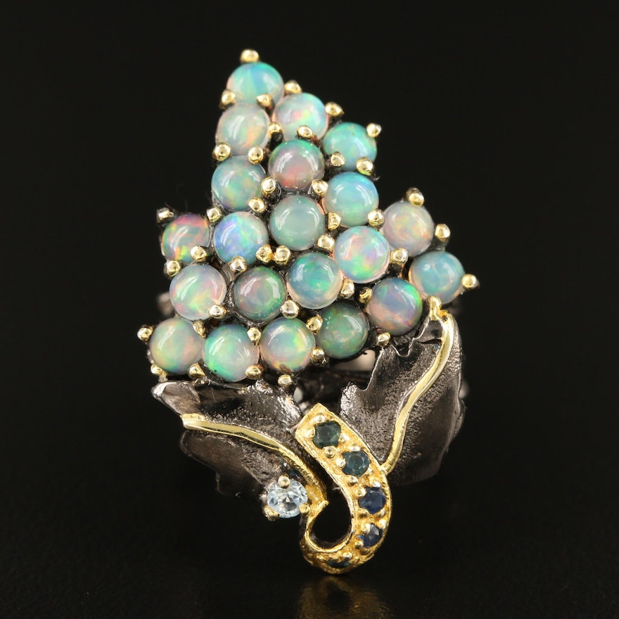 Sterling Opal, Sapphire and Sky Blue Topaz Grape Cluster Ring
