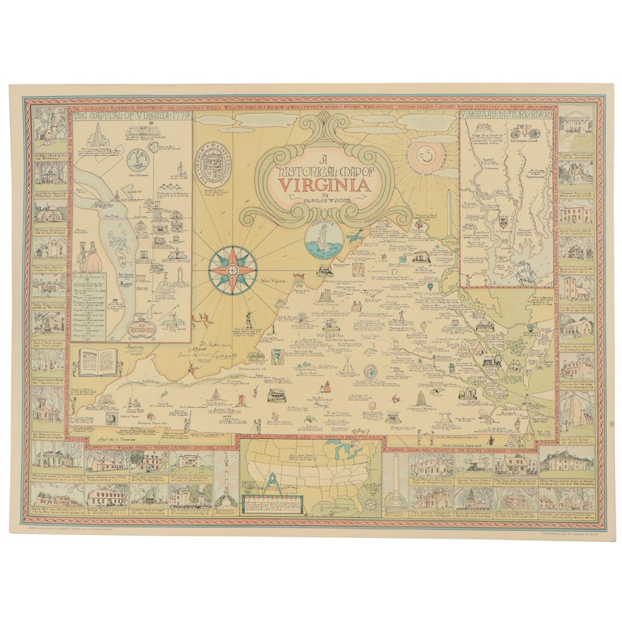 """Offset Lithograph Map After Charles W. Smith """"Historical Map of Virginia"""""""