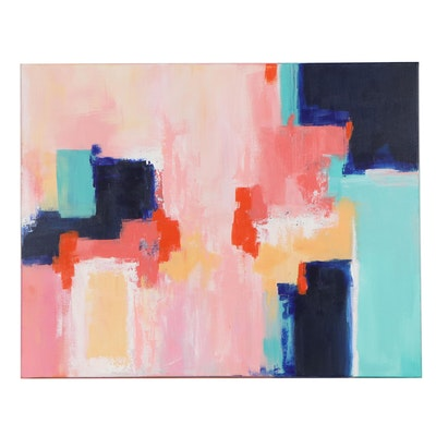 "Sanna Abstract Acrylic Painting ""Fall Breeze,"" 2020"