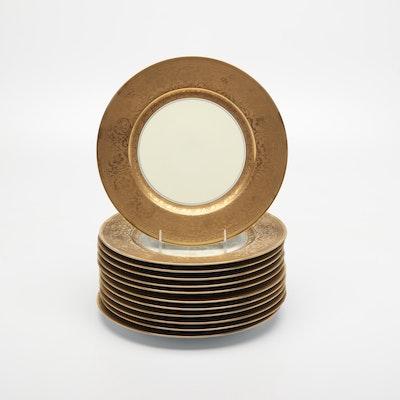 Edgerton Gold Encrusted Porcelain Dinner Plates