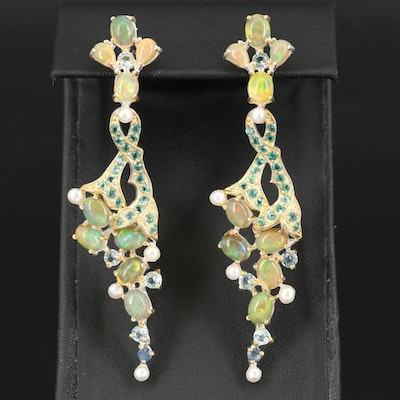 Sterling Tapered Earrings Including Opal, Pearl and Topaz