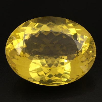 Loose 184.56 CT Oval Faceted Citrine