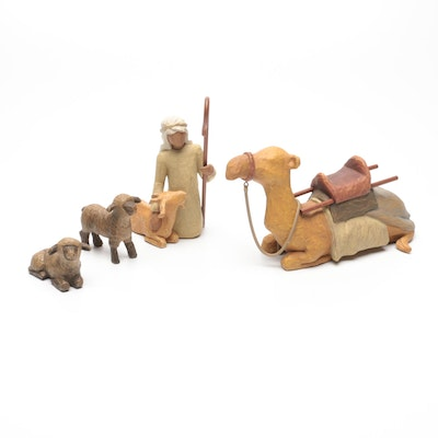 """Willow Tree """"Shepherd and Stable Animals"""" Figurines Designed by Susan Lordi"""