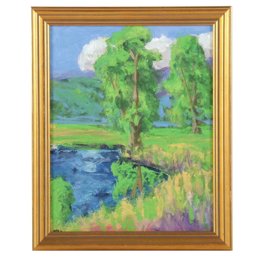 Kenneth R. Burnside Impressionist Style Rural Pond Oil Painting, 21st Century