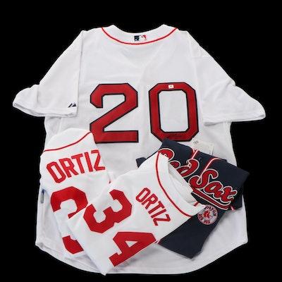 Kevin Youkilis Signed Boston Red Sox Baseball Jersey and David Ortiz MLB Jerseys