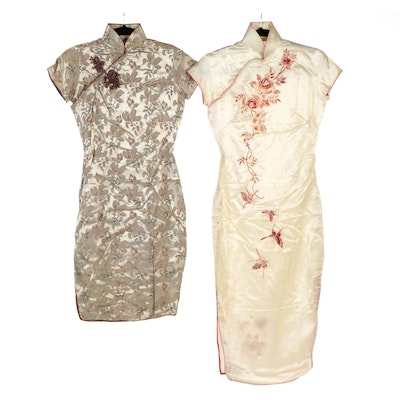 Floral Jacquard and Rose Embroidered Cheongsam Dresses