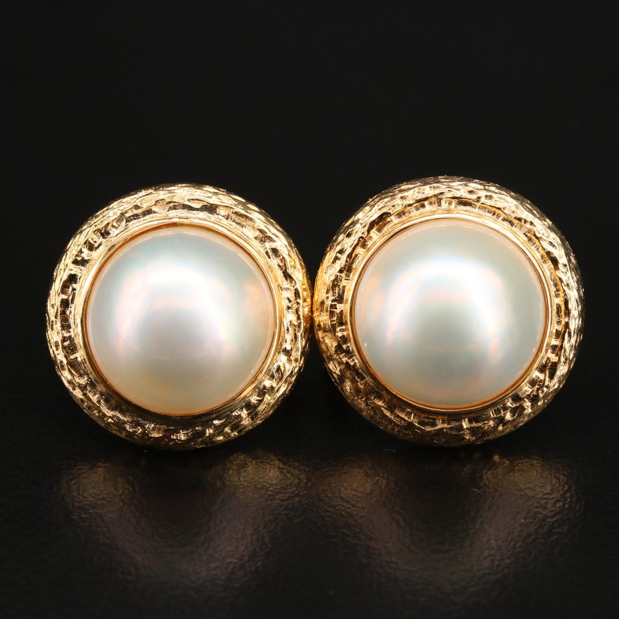 14K Mabé Pearl Earrings with Textured Trim