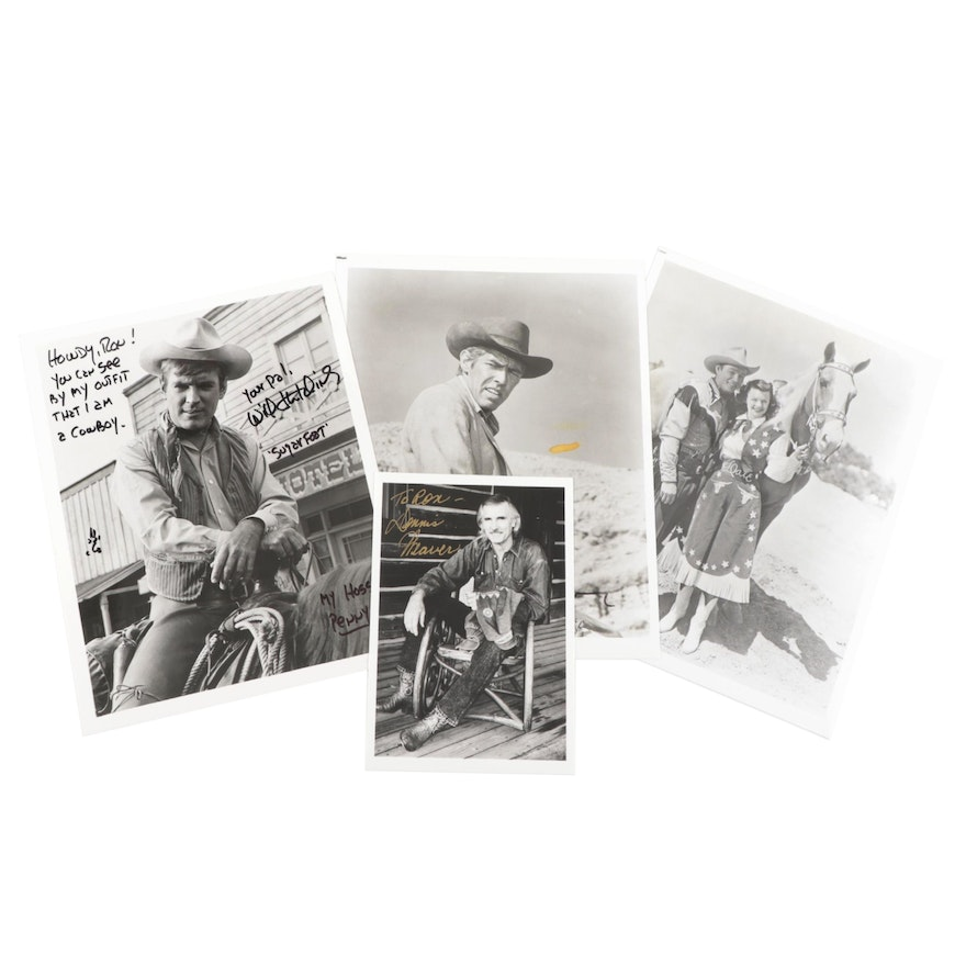 Dennis Weaver, Will Hutchins, and James Coburn Signed Western Photo Prints