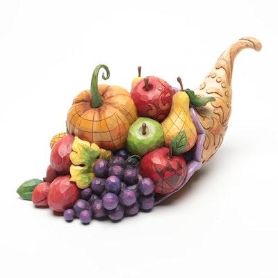 "Jim Shore Heartwood Creek ""Horn of Plenty"" Harvest Cornucopia Figurine"