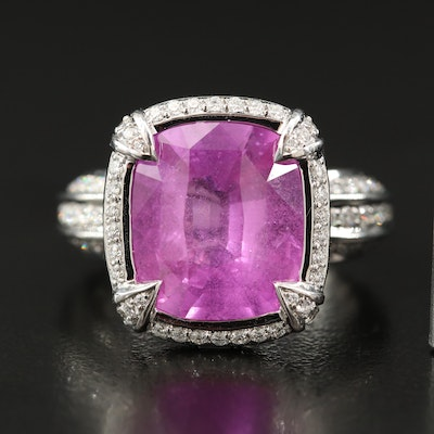 Kat Florence 18K 8.77 CT Pink Sapphire and 1.12 CTW Diamond Ring