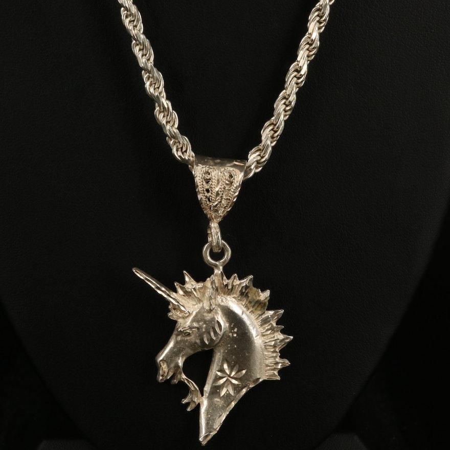 Sterling Unicorn Pendant Necklace