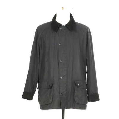 Men's Barbour Waxed Cotton Tartan Jacket with Corduroy Trim