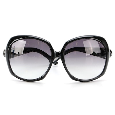 Gucci GG3042 Crystal Embellished Oversized Sunglasses in Black