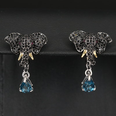 Sterling London Blue Topaz, Ruby and Spinel Elephant Earrings