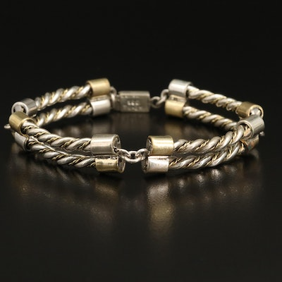 Sterling Link Bracelet with Brass Accents