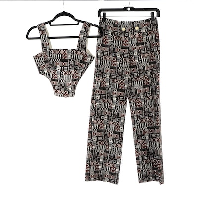 Handmade Printed Cotton Two-Piece Cropped Bodice and Pant Set