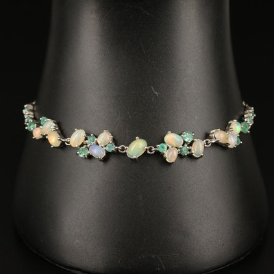 Sterling Opal and Emerald Bracelet