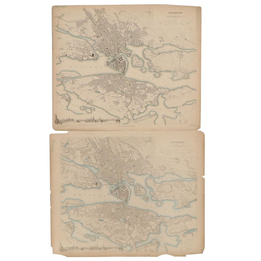 Hand-Colored Engraving Maps of Stockholm, 19th Century